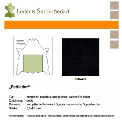 Fettleder Doppelcroupon - schwarz