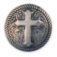 Rope Cross Stamped Steel Concho