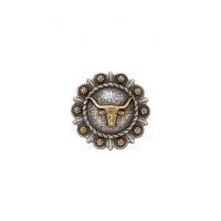 Roped Berry Round Concho - Steer Head