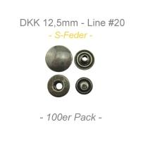 Druckknöpfe 12,5mm - S-Feder - antik messing - 100er Pack