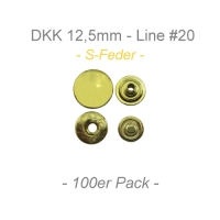 Druckknöpfe 12,5mm - S-Feder - messing - 100er Pack