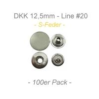 Druckknöpfe 12,5mm - S-Feder - silber - 100er Pack