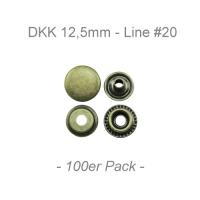 Druckknöpfe 12,5mm - Line #20 - antik messing - 100er Pack