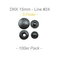 Druckknöpfe 15mm - S-Feder - anthrazit - 100er Pack