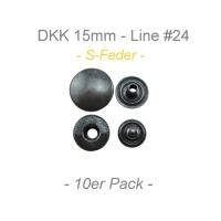 Druckknöpfe 15mm - S-Feder - anthrazit - 10er Pack