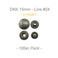 Druckknöpfe 15mm - S-Feder - antik messing - 100er Pack