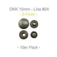 Druckknöpfe 15mm - S-Feder - antik messing - 10er Pack