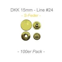 Druckknöpfe 15mm - S-Feder - messing - 100er Pack