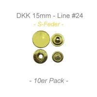 Druckknöpfe 15mm - S-Feder - messing - 10er Pack
