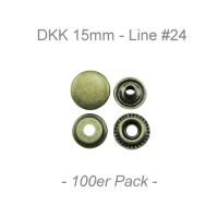 Druckknöpfe 15mm - Line #24 - antik messing - 100er Pack