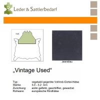 Vollrind-Gürtel-Hals Vintage-Used - jeansblau