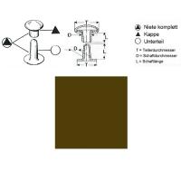 Hohlnieten 9mm - RIV 34/8 - antik vermessingt - 10er Pack