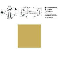 Hohlnieten 9mm - RIV-DT 34/8 - geschlossen - vermessingt - 1000er Pack