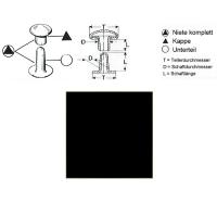 Hohlnieten 9mm - RIV 34/8 - schwarz - 100er Pack