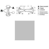 Hohlnieten 9mm - RIV-DT 34/8 - geschlossen - silber - 1000er Pack