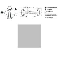 Hohlnieten 9mm - RIV-DT 34/8 - geschlossen - silber - 100er Pack