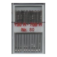 10 Nähmaschinennadeln Universal, 130R/705H - 80