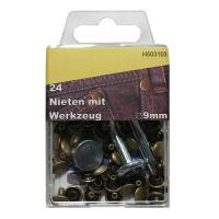 Nieten 9mm mit Werkzeug altmessing