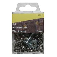 Nieten 9mm mit Werkzeug silber