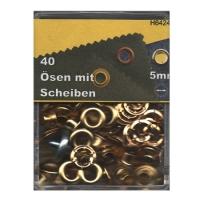 Ösen 5mm mit Scheiben gold
